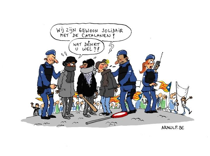 Catalanen betogen in Brussel.def